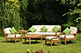 Noida 6 Piece Teak Lounge Sofa Set Sunbrella Fabric Cushions: Seat & Back Cushions for 3 Seater Sofa, 2 Lounge Chairs, 1 Ottoman -Cushions only #TSSSNO2CS