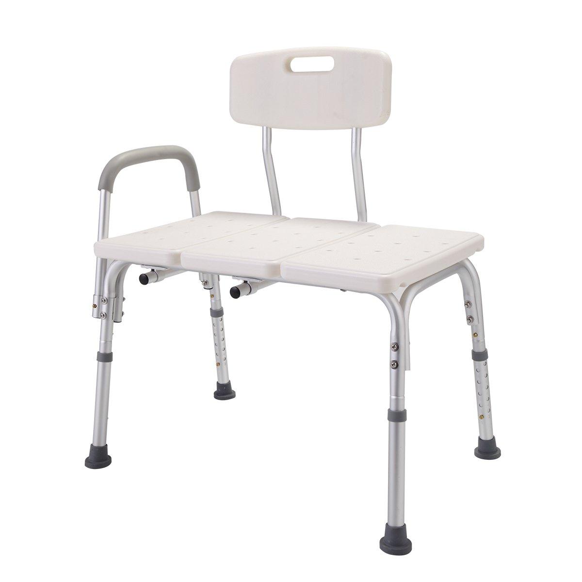 lazymoonホワイト医療シャワーチェア10高さ調節可能なバスタブ転送シートベンチW / Back andアームレスト   B074DXW66B
