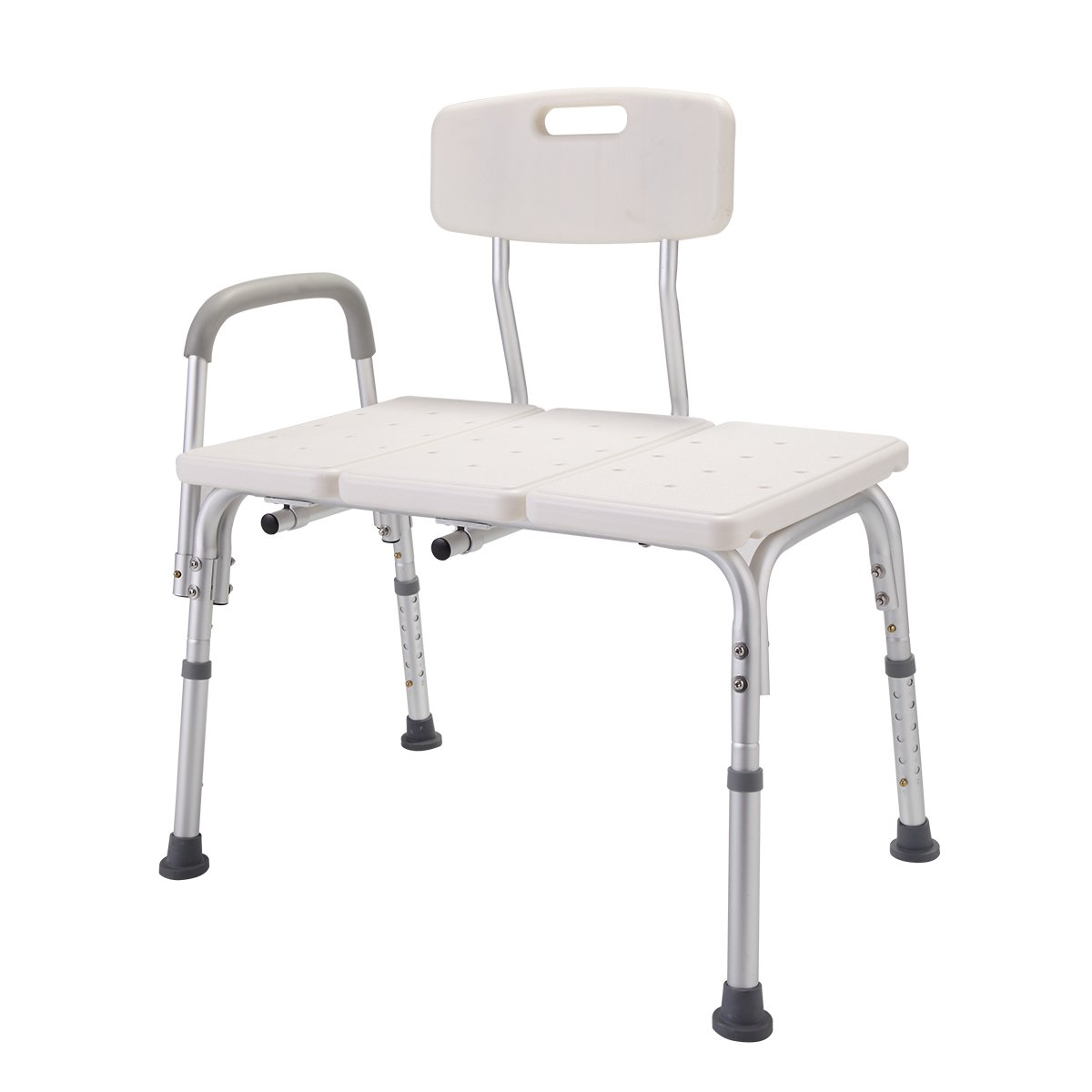 Tobbi 10 Height Adjustable Medical Shower Chair Bath Tub Bench Stool Seat Back and Arm White