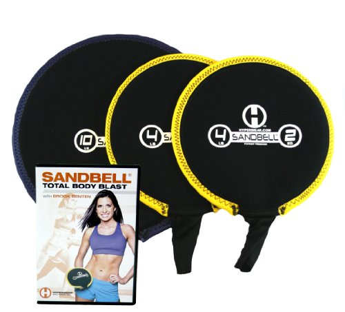 Hyperwear SandBell Unfilled Weights Total Body Blast Workout DVD Bundle with 3 SandBells