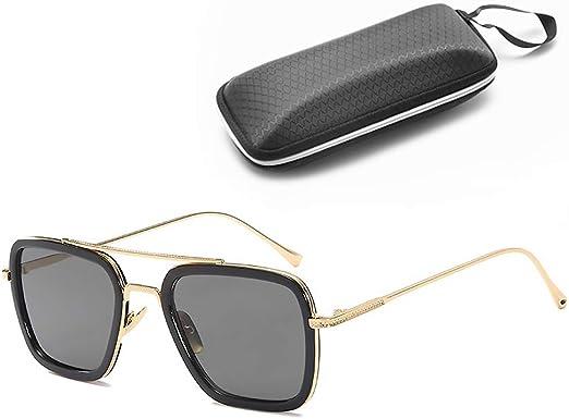 Case Mens Retro Metal Designer Vintage Pilot Classic Sunglasses Gold White