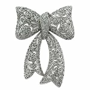 Sterling Silver CZ Filigree Flower Bow Pin