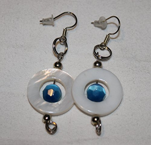 Of Pearl Turquoise Earrings Mother (Turquoise Faceted Bead in Mother of Pearl Circle Earrings)