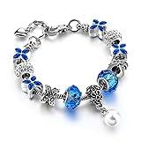 Bracelet,Charm Bracelet Silver Snake Chain Tone Clover Beaded Bracelet for Women Girls 7''(Blue)
