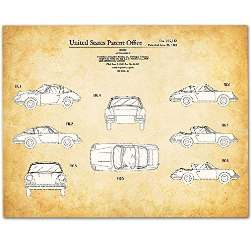 Sign Brown T-shirt - Porsche 911-11x14 Unframed Patent Print - Makes a Great Gift Under $15 for Porsche Owners