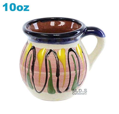 Taza Mug de Barro 10 Oz Colorful Festive Hand Painted Traditional Mexican Artisan Artezenia Ponchero Champurrado Hot Chocolate Tepache (Blue, Pink)