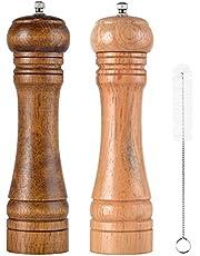 SHiZAK - Molinillo de Sal y Pimienta de Madera Ajustable (2 Unidades, 20,3 cm, 1 Cepillo de Limpieza)