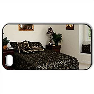 bedroom - Case Cover for iPhone 4 and 4s (Houses Series, Watercolor style, Black)