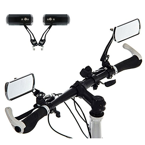 AIDDKK 1 Pair Aluminum Alloy Bike Rearview Mirror,360°Adjustable Rotation Bicycle Back Mirror for Mountain Bike,Road Bike,and Fixed Gear Bike with the Handlebar