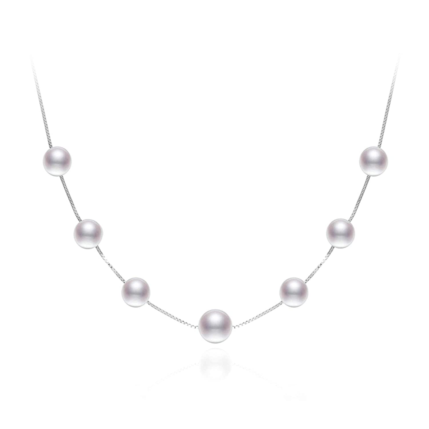 Aooaz Silver Material Necklace Women Girls Ball Beads Pendant Necklaces White Wedding 40CM