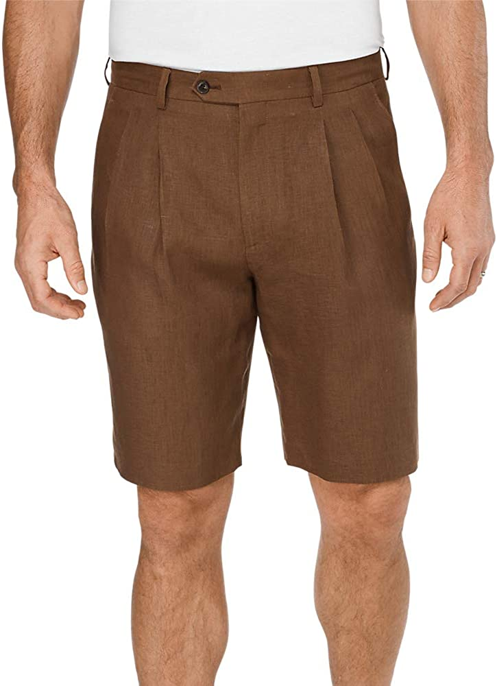 Vintage Style Mens Shorts Paul Fredrick Mens Linen Pleated Shorts  AT vintagedancer.com