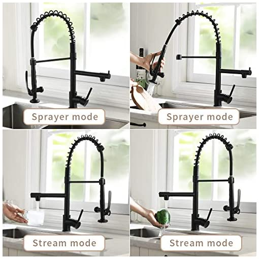 Farmhouse Kitchen Fapully Black Kitchen Faucet,Commercial Pull Down Kitchen Sink Faucet with Sprayer farmhouse sink faucets