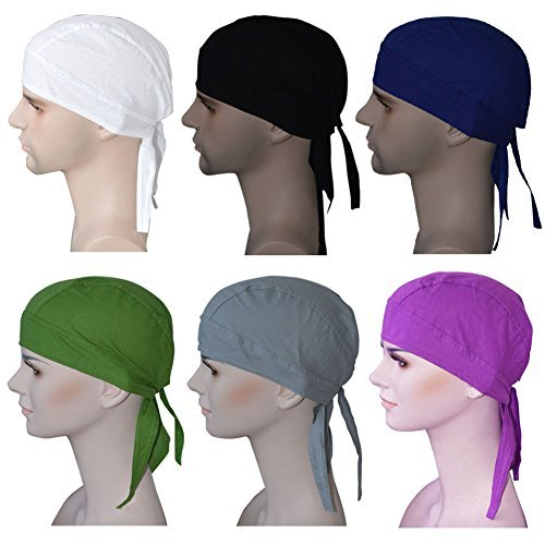 Cotton Bandanas / Dew Rag / Skull Cap / Cycling Cap /Beanie /Adjustable Hat/Head Scarf /Chemo Caps / Fits under Helmets. Perfect for Running, Motorcycling,Biking, Football,Pack of 6