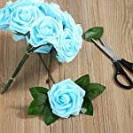 Febou-Artificial-Flowers-50-pcs-Real-Touch-Artificial-Foam-Roses-Decoration-DIY-for-Wedding-Bridesmaid-Bridal-Bouquets-Centerpieces-Party-Decoration-Home-Office-Decor-Standard-Type-Light-Blue