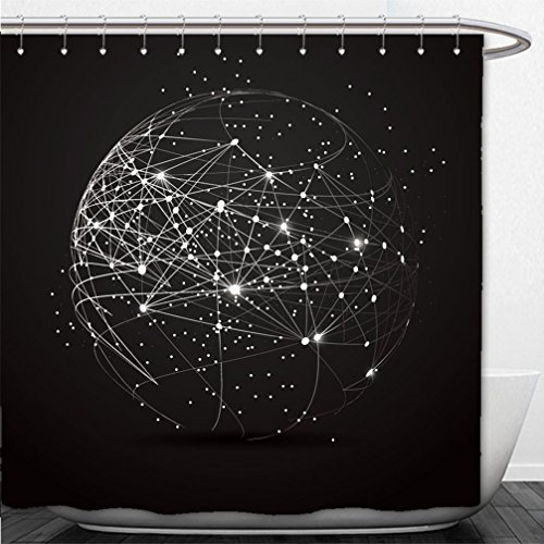 Interestlee Shower Curtain point and curve constructed the sphere wireframe technological sense abstract illustration 605481260 - 42' Curve
