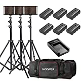 Neewer 3-Pack Bi-color Dimmable 280 LED Video Light and Stand Lighting Kit with Battery, USB Charger and Carrying Bag - 3200-5600K,CRI 95+ LED Panel for Camera Photo Studio, YouTube Video Shooting