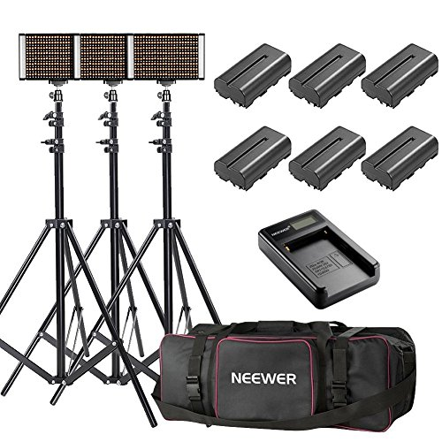 Neewer 3-Pack Bi-color Dimmable 280 LED Video Light and Stand Lighting Kit with Battery, USB Charger and Carrying Bag - 3200-5600K,CRI 95+ LED Panel for Camera Photo Studio, YouTube Video Shooting by Neewer (Image #8)