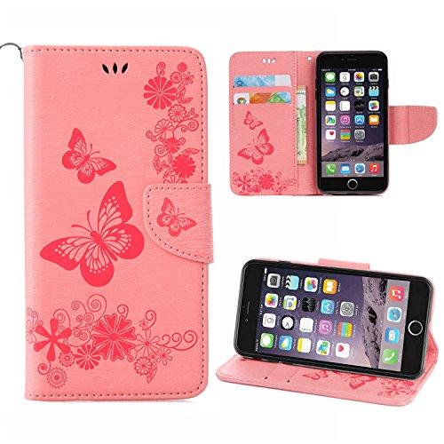 iPhone 6 Funda,Pegoo PU Cuero de Alivio Delgada Diseño Funda y Magnético Folio Flip Soporte Cover Case Caso Funda Cáscara Caja para el Apple iPhone 6 6S (4.7) (Viola) Rosa