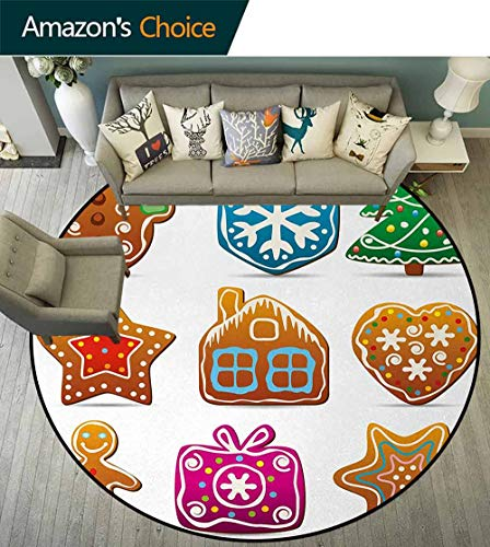 (Gingerbread Man Round Area Rugs Living Room,Gingerbread Cookies In Cartoon Style Delicious Looking Pastries Xmas Taste Study Computer Chair Cushion Base Mat Round Carpet Diameter-55 Inch,Multicolor)