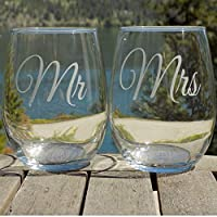 Mr and Mrs Wine Glasses, Stemless Wine Glasses Set of 2 Etched Glasses