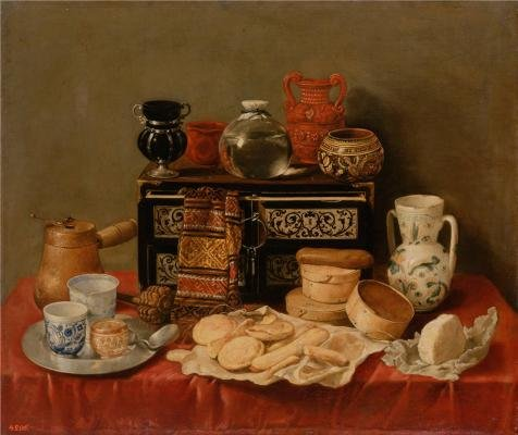 'Still Life With An Ebony Chest,1652 By Antonio De Pereda' Oil Painting, 18x21 Inch / 46x54 Cm ,printed On Perfect Effect Canvas ,this Beautiful Art Decorative Canvas Prints Is Perfectly Suitalbe For Dining Room Decor And Home Artwork And Gifts