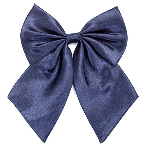Ladies Girl Bowknot Bow Tie - Adjustable Pre-tied Solid Color Handmade Bowties for Women Costume Accessory (Navy -