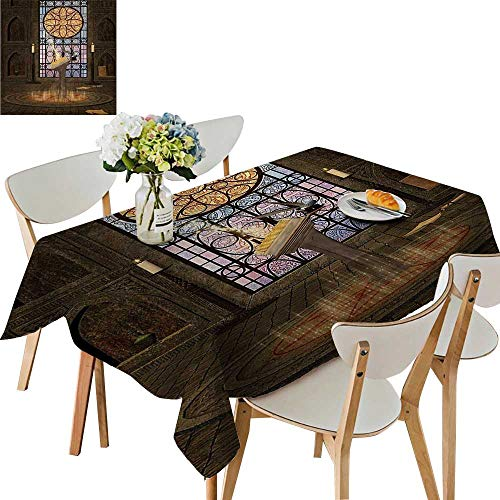 UHOO2018 Square/Rectangle Polyester Tablecloth Table Cover Lectern Pentagram Symbol Medieval Architecture Candlelight in Dark Spell for Dining Room,50 x ()