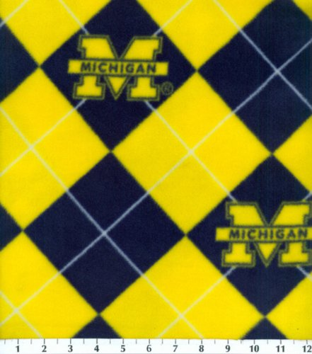 College University of Michigan Wolverines Argyle Fleece Fabric Print By the ()