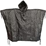 Brand New Fashion Us Waterproof Hooded Ripstop Wet Festival Rain Poncho Black