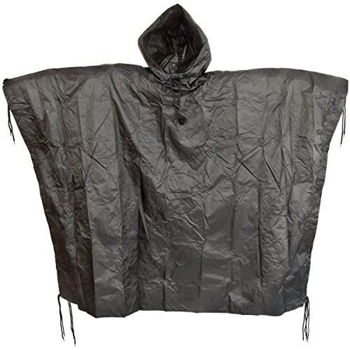 Brand New Fashion Us Waterproof Hooded Ripstop Wet Festival Rain Poncho Black