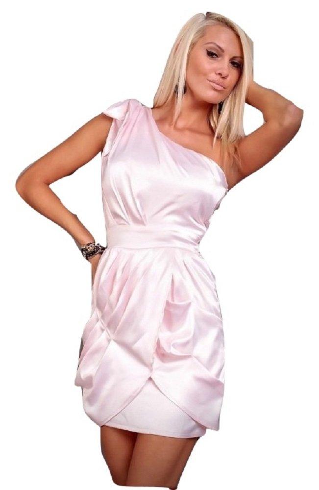 Da donna, colore: Rosa satinato una spalla Bow Dress abito da sera Abito da cocktail Cruise Prom matrimonio taglia M UK 10–12EU 38–40