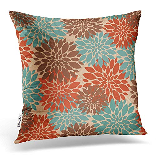 - Accrocn Throw Pillow Covers Unique Elegant Orange Teal Cream Brown Peonies Print Pattern Popular Cushion Decorative Pillowcases Polyester 18 x 18 Inch Square Pillowcase Hidden Zipper