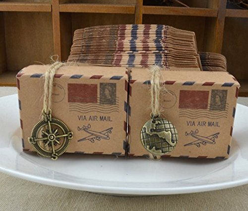 Box Globe (TECH-P Creative Life 50pcs Vintage Inspired Airmail Design Favor Boxes Bonbonniere With Globe Kraft Paper Candy Boxes Gift Box With Burlap Twines For Wedding PartyTravel Themed Events)