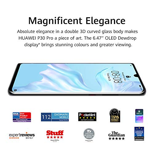 Huawei P30 Pro 8 GB RAM + 128 GB, Stunning 6.47 Inch OLED Display, Android.TM 9.0 Pie, EMUI 9.1.0 Sim-Free Smartphone, Dual SIM VOG-L29 - International Version/No Warranty (Midnight Black)