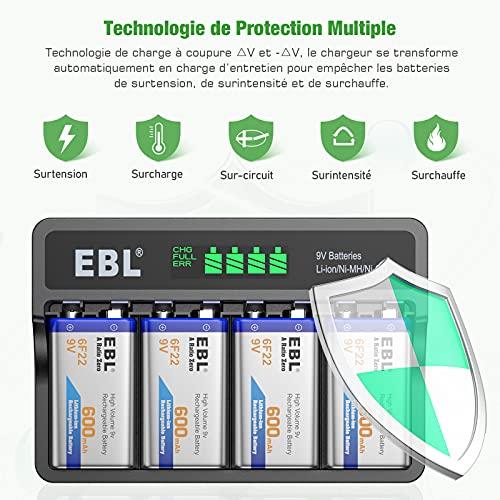 EBL LCD Chargeur de Piles 9V Rechargeables, avec 4PCS Piles 9V Rechargeables 600mAh Li-ION, Rapide Chargeur pour 9V 6F22 Li-ION Ni-MH Ni-CD Batteries,avec Port USB