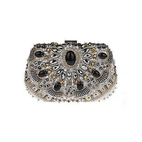 de cena bolsa bolso Plateado vestido Mini cheongsam Plateado estilo de Diamante 6 12cm 18 folk banquete x0aFwvqza