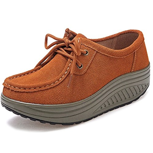 Solshine Womens Suede Leather Platform Wedge Heel Outdoor Casual Shoes Hell Braun