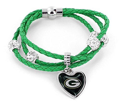 Green Bay Packers Pendant - aminco NFL Green Bay Packers Braided Cord Bracelet Green
