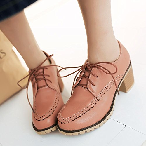 Spectacle Briller Mode Féminine Chunky Talon Oxfords Chaussures Rose