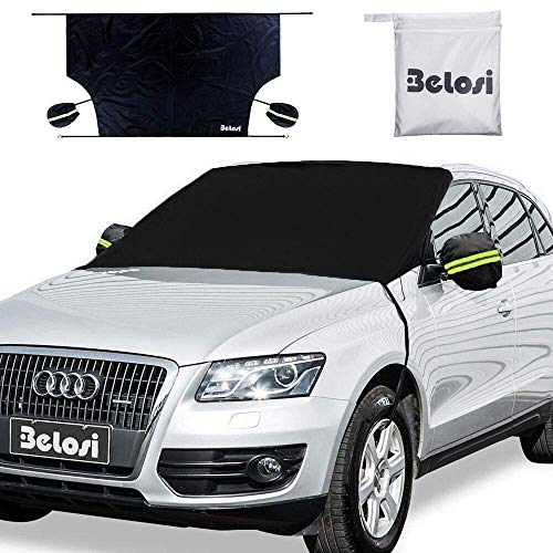 Belosi Car Windshield Snow Cover, Double-Side Design Sun Shade Protector with Elastic Mirror Covers,Dual-Secure Fixture Design,Waterproof for Small Cars,Standard Pickup,SUV - (85