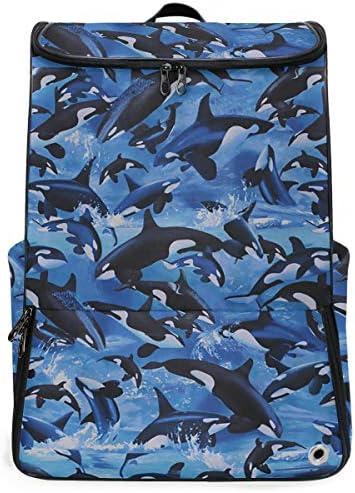 リュック メンズ レディース リュックサック 3way バックパック 大容量 ビジネス 多機能 クジラ ザメ柄 スクエアリュック シューズポケット 防水 スポーツ 上下2層式 アウトドア旅行 耐衝撃