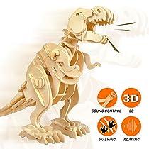 ROBOTIME 3D Wooden Dinosaur Puzzle Sound Control Robot Walking T-Rex Birthday Gifts for Children