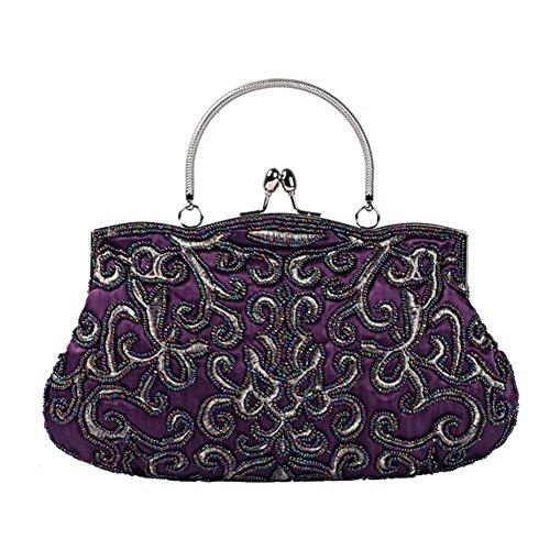 Wgwioo Bag mujer bolsas de noche retro con cuentas satín banquete fiesta embrague bolso. (28 x 22 cm) purple one size purple