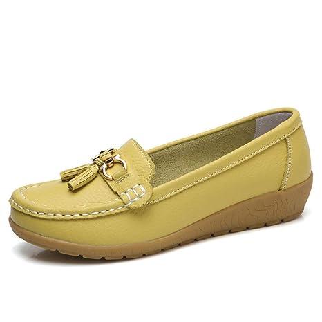 ZHRUI Mocasines de Cuero Mujer Mocasín Inteligente Mocasín Deslizamiento Plano en Zapatos cómodos (Color :