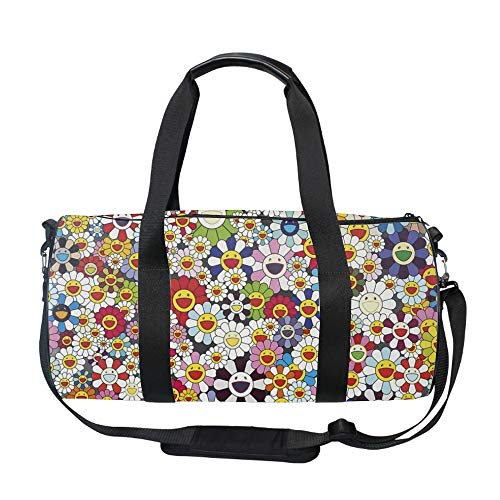 Gym Sports Small Duffel Bag for Men and Women with Shoes Compartment - Smile Face Flowers -
