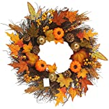 Fall Maple Leaf Pumpkin Wreath Christmas Artificial Wreath Front Door Decoration Thanksgiving Decorative Garland