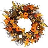 Fall Maple Leaf Pumpkin Wreath Christmas Artificial Wreath Front Door Decoration Thanksgiving Decorative Garland