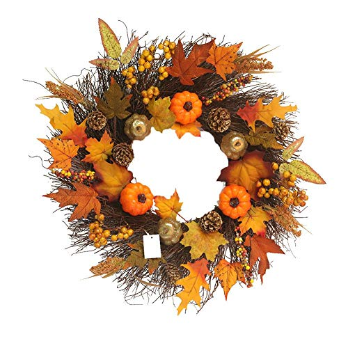 - Fall Maple Leaf Pumpkin Wreath Christmas Artificial Wreath Front Door Decoration Thanksgiving Decorative Garland