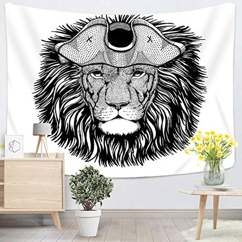 Lichtion Tapestry Lion Wearing Pirate Tricorn Hat Capitan Costume Wall Hanging Polyester Living Room Beach Towel Picnic Mat Bedding Decoration 60 X 80 Inches]()