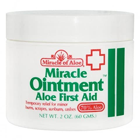 Miracle of Aloe Miracle Ointment Aloe First Aid Cream 2 Oz. For Cuts, Scrapes, Insects, Bites, Poison Ivy and Burns with Lotion Skin Repair Cream Non scaring. No Medicine Cabinet Should Be Without It, Helps Speed Healing and Reduce Scarring. It's Like Having a Live Aloe Plaint in a Jar. Fast Cooling Soothing Relief. Repairs Wounds - Salve 2 Oz Cream